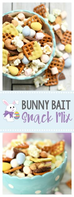 Bunny Bait Snack Mix-This fun Easter treat is great for a party or just a Spring snack. Who doesn't love an Easter snack mix with Cadbury mini eggs in it? Easter Snacks, Easter Appetizers, Easter Treats, Easter Recipes, Easter Food, Yummy Snacks, Snack Recipes, Recipes Dinner, Holiday Recipes