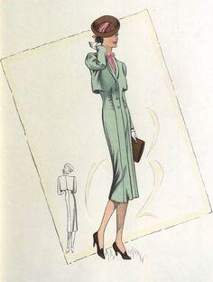 30s Fashion, Antique Clothing, Fashion Sketches, 1930s, Antiques, Illustrations, Dresses, Fine Art Paintings, 1930s Fashion