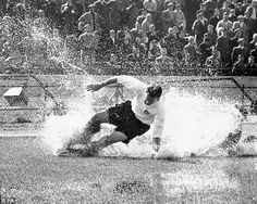 The Splash: Finney controls a pass from team-mate Tommy Docherty in sodden conditions at Stamford Bridge in To celebrate his birthday in a statue of the moment was unveiled at the National Football Museum at Preston's Deepdale ground Read more: . School Football, Sport Football, Adidas Football, Chelsea Football, Chelsea Fc, Preston Lancashire, England Players, Toms