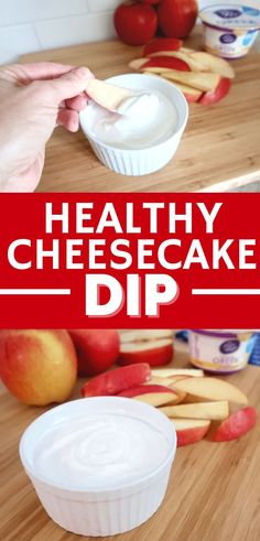 Healthy cheesecake dip is the best with apples, strawberries, or graham crackers! This 2 ingredient fruit dip is perfect when you're craving a sweet treat. You'll love this healthy dessert recipe! (sponsored)
