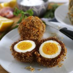 These baked scotch eggs are the perfect party appetizer! Serve them with my shallot yogurt dip; your guests will definitely come back for more!