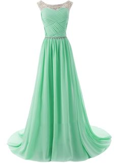 The evening dress is featuring round neck, sleeveless, rhinestone decoration, simple color and floor length.