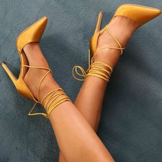 Strappy marigold yellow high heel sandals! Yellow shoes are so on trend right now and will be super popular for summer 2018