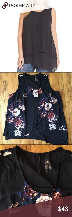 Melissa McCarthy Seven7 Layered Asymmetrical Tank NWOT Cover photo is to show style - has a floral print (as pictured) Melissa McCarthy Tops Tank Tops