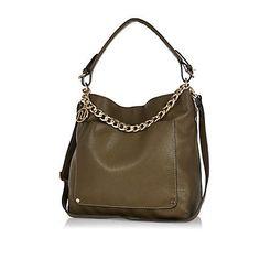 Dark green chain trim slouch bag $64.00