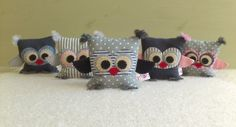 "Lavender fabric owls.  Gray collection by bubot (anatbubot) סדרת ינשופים אפורה של ""בובות"" י"