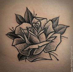 dot work rose tattoo