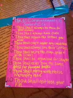 The 10 Commandments of Sorority Life. From Kappa Delta's Eta Tau chapter at Florida Gulf Coast University.