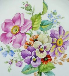 . Retro Flowers, Retro Floral, Watercolor Flowers, Watercolor Paintings, Beautiful Flowers Wallpapers, Composition Design, European Paintings, Dresden, China Painting
