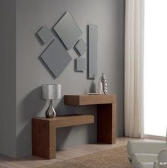 modern console table design ideas with mirror 2019 Console Design, Shelf Design, Home Decor Furniture, Furniture Design, Living Room Decor, Bedroom Decor, Futuristisches Design, Design Ideas, Modern Console Tables
