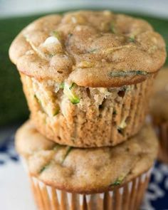 """Zucchini Cream Cheese Muffins- These muffins are """"like eating a cupcake for breakfast, only healthier!"""" Made with unsweetened applesauce (in place of butter or oil to lower the fat and calorie count), this is an occasional morning treat we can get behind."""
