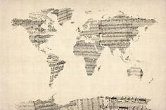 Old Sheet Music World Map Art Print. This is just awesome. It would be neat to use music that came from each country