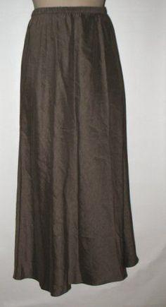 EILEEN FISHER PETITE Linen & Silk Flared Long Skirt, PEWTER (Gray/Brown) PM NWT! #EileenFisherPetites #FlaredSkirt