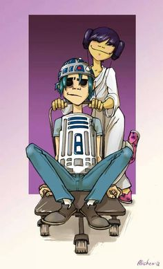 Gorillaz' and Noodle as Star Wars' and Princess Leia Gorillaz 2 D, Gorillaz Noodle, Bad Cosplay, 2d And Noodle, Sunshine In A Bag, Russel Hobbs, Demon Days, Jamie Hewlett, Joker And Harley Quinn