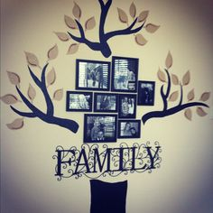 My hand painted Family Tree wall for our home office.