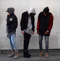 The digging the outfit on the far left  (yeezy season)