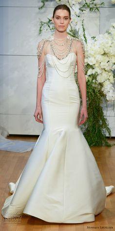 monique lhuillier spring 2018 bridal strapless sweetheart neckline simple clean mermaid wedding dress chapel train (divine) mv -- Monique Lhuillier Spring 2018 Wedding Dresses