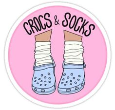 Crocs and Socks Sticker - Products - Spielzeug Tumblr Stickers, Phone Stickers, Cute Stickers, Macbook Stickers, Grunge Suave, Blue Crocs, Homemade Stickers, Wall Paper Phone, Aesthetic Stickers