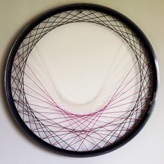 Recycled Bicycle Wheel Laced Wall Art - purple, string art, repurposed, woven