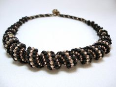 Queen of the Night Cellini Spiral Beadwoven Necklace