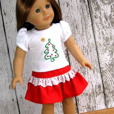 Oh Christmas Tree  American Girl Doll Clothes by SewFunDollClothes,