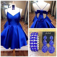 royal blue spaghetti straps homecoming dress!