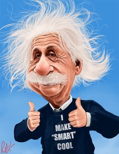 Albert Einstein (By Rich Conley) Funny Face Drawings, Funny Faces, Funny Caricatures, Celebrity Caricatures, Cartoon Faces, Cartoon Art, Avatar Picture, Pink Floyd Art, Drawing Stars
