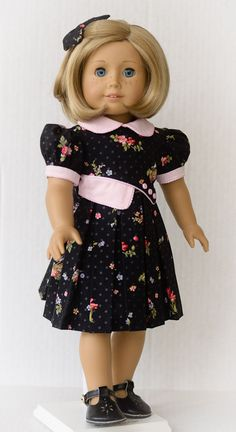 1930s Pleated Dress by AnnasGirls . Keepers Dolly Duds pattern.