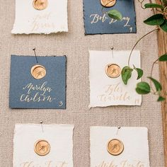 These escort cards are one of my all time favorite projects. Custom wax seals stamped on hand made, deckled edge paper with gold calligraphy names - is there a better combo? Wedding Calligraphy, Wedding Stationery, Wedding Invitations, Gold Calligraphy, Wedding Favors, Diy Wedding, Party Wedding, Wedding Centerpieces, Wedding Paper