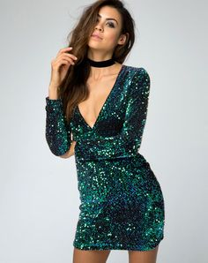 514095207307 Meli Plunge Neck Bodycon Dress in Green Iridescent Sequin by Motel