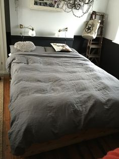 My lovely bedroom with grey bed shits.