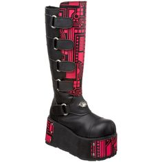 With three interchangeable cyber panels, it's easy to wear these eye-catching boots your favorite way. These UV Cyber boots from Demonia are made with a multi-buckled shaft and a dramatic 4.5-inch pla