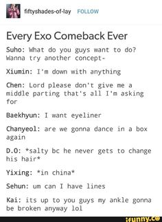 Kai is hit the point!! ✊ I mean lyke, he always getting injure when it comes to comeback or prepare a concert
