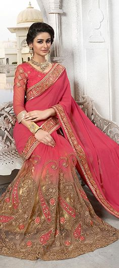 176404, Embroidered Sarees, Party Wear Sarees, Faux Georgette, Patch, Lace, Machine Embroidery, Pink and Majenta, Orange Color Family
