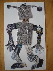 robot collage....use gears, bolts, etc.