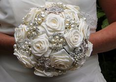 Brooch Bouquet with Satin Roses by Kays School of Floristry Dublin - website  www.kaysschool.com or email kschool@ireland.com