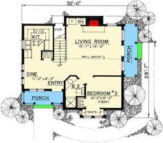 Adorable Cottage - 43000PF | Architectural Designs - House Plans Cottage Floor Plans, Cottage House Plans, Cottage Homes, Narrow Lot House Plans, Small House Floor Plans, Fairytale Cottage, Storybook Cottage, Country House Design, Cottage Design