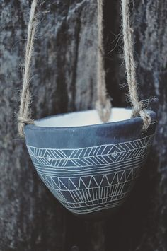 Geometric Pattern Design Black and White Carved Hanging Planter // Succulent Planter