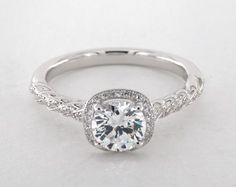 Jeff Cooper Lisa-Lumiere, Cushion Pave Halo Designer Ring in White Gold (Setting Price) by James Allen® Engagement Rings Cushion, Yellow Engagement Rings, Shop Engagement Rings, Engagement Ring Styles, Designer Engagement Rings, Engagement Ring Settings, Oval Engagement, Halo, Lisa