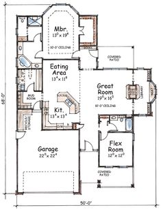 Three Versions to Choose -Plan Three Versions to Choose - First Floor Plan of Bungalow Craftsman House Plan 73002 The Hideaway Cottage Best House Plans, Dream House Plans, Small House Plans, House Floor Plans, 2 Bed House, 2 Bedroom House Plans, Flex Room, One Story Homes, Cottage Plan