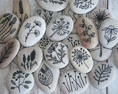 Hand Painted Stone Dandelion - sea pebbles nature design floral motifs hand painted flowers stone plants original home decor meditation rock Acrylic Painting Flowers, Pebble Painting, Pebble Art, Stone Painting, Rock Painting Patterns, Rock Painting Designs, Art Patterns, Design Floral, Motif Floral
