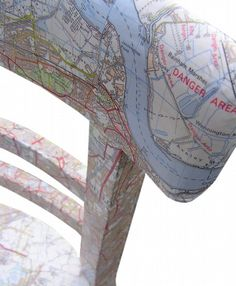 Upcycled chair with decoupaged East London map from Bombus on Etsy