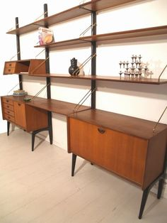 Vintage wall unit made by one of my favourite Dutch designers: Louis van Teeffelen, production Webe. Custom Furniture, Vintage Furniture, Furniture Design, Mid Century Modern Living Room, Mid Century House, Danish Modern Furniture, Built In Desk, Ikea, Mid Century Design