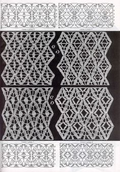 Crochet patterns for blouses and scarves Crochet Curtains, Crochet Fabric, Crochet Motifs, Crochet Borders, Crochet Diagram, Crochet Stitches Patterns, Freeform Crochet, Crochet Chart, Lace Patterns