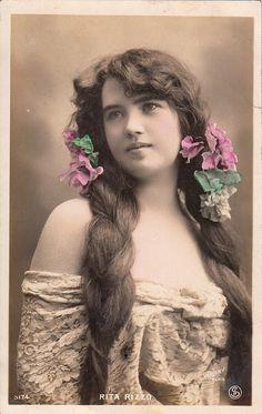 Vintage French Actress Rita Rizzo by Walery studio Paris, ca. 1910s