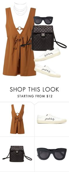 """""""Untitled #4199"""" by lily-tubman ❤ liked on Polyvore featuring Yves Saint Laurent, Chanel, CÉLINE and Humble Chic"""