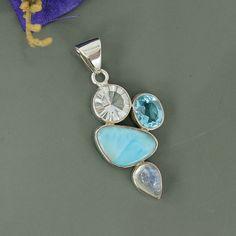 Dominican Larimar, Moonstone, Blue Topaz & Crystal Multi Gemstone Pendant, 925 Sterling Silver Pendant Jewelry, Unique Gift Pendant Jewelry