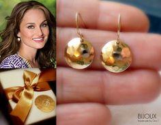 "Gold Disc Earrings - Hammered - 14K Goldfilled - ""Soleil"" Earrings......... $28.00, via Etsy."
