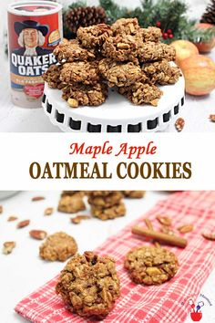 Maple Apple Oatmeal Cookies + GIVEAWAY   2 Cookin Mamas What's better than a soft, chewy oatmeal cookie? Our delicious Maple Apple Oatmeal Cookies made wtih whole grain oats, apples and nuts! They're sweetened with maple syrup & have warm notes of salty bacon mixed in. We've made them dairy-free, gluten-free if using gluten-free oats, perfect for snacks & also as part of breakfast.#cookies #oatmealcookies #GIVEAWAY #IHeartQuakerOats #ad #recipe #dairyfree