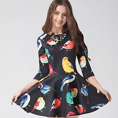 Good Women's Newest Floral Printing Long Sleeve Dress – USD $ 16.99
